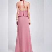 Dusty Pink Backless Bridesmaids Dress with Perfect Fit with Halter Strap