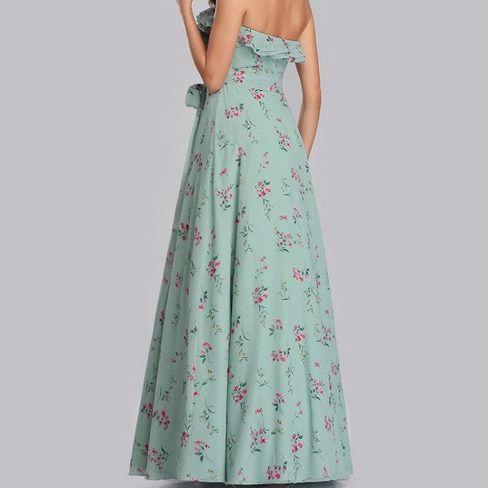 Mint Green Tube Bridesmaids Dress with Perfect Fit with Floral Printed Design
