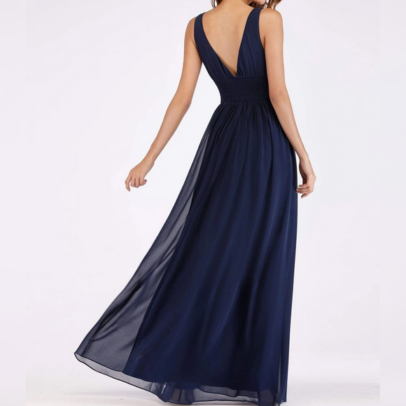 Navy Blue V-Neck Stretchy Fabric Bridesmaids Dress with Perfect Fit