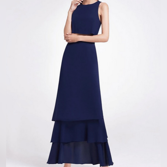 Navy Blue Top and Skirt Bridesmaids Dress with Perfect Fit with Layered Ruffled Bottom Skirt