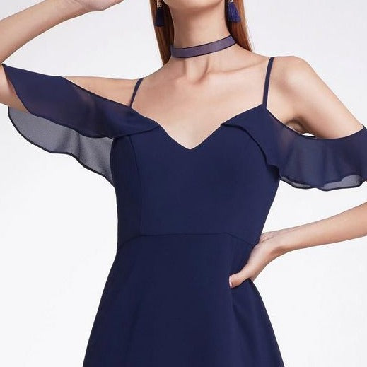 Navy Blue Bridesmaids Dress with Perfect Fit with Flutter Sleeves and Ruffle Skirt