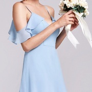 Powder Blue Bridesmaids Dress with Perfect Fit with Flutter Sleeves and Ruffle Skirt