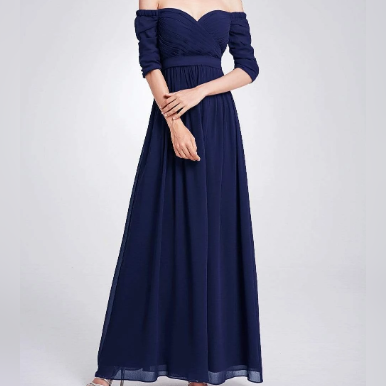 Navy Blue Three- Fourths Sleeve Off Shoulder Bridesmaids Dress with Perfect Fit with Chiffon Skirt