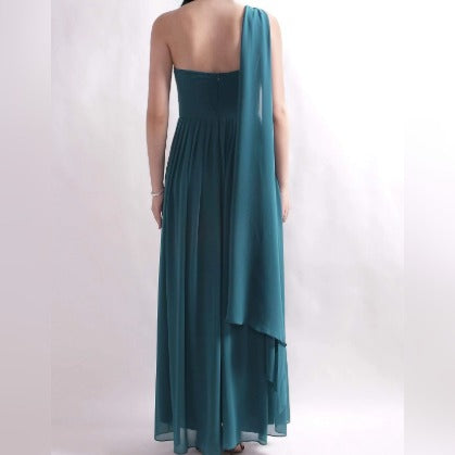 Teal Green Venus Cut Bridesmaids Dress with Perfect Fit with One Shoulder Drape Sleeve