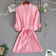 Pretty Pink Bride Robe with Soft Satin Fabric