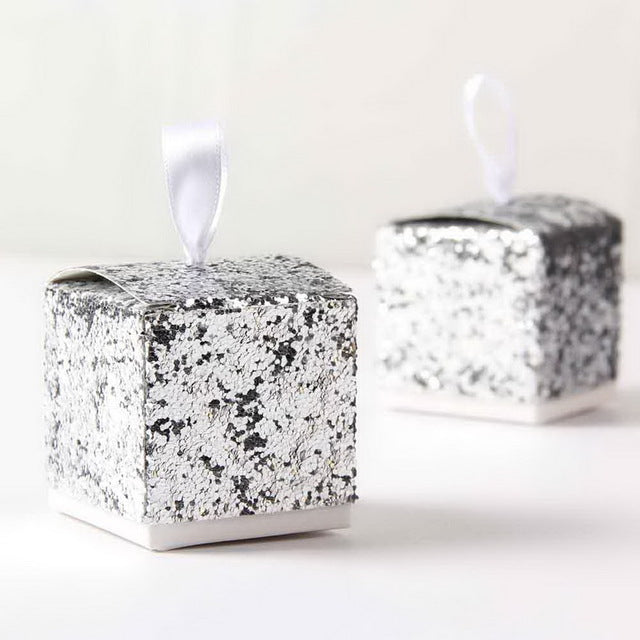 "60 PCS ""All That Glitters"" Silver Glitter Candy Favor Boxes"