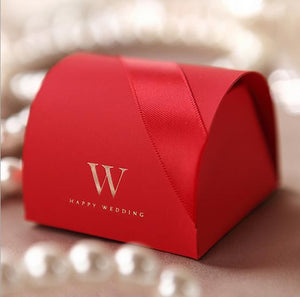 50 PCS Luxurious Ribbon Cross Red Wedding Favor Boxes