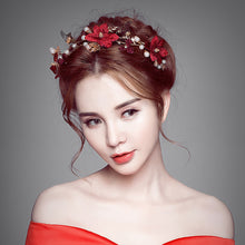 Red Handmade Floral Bridal Crown