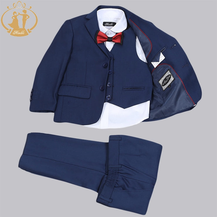 Little Boy Gray Suit for Ring Bearer or Flower Boy - Single Breasted 3 Piece Suit (18M - 11)
