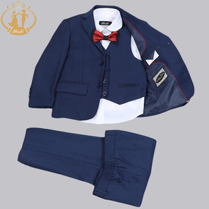 Blue Suit for Ring Bearer or Flower Boy - Single Breasted 3 Piece Suit (18M - 11)