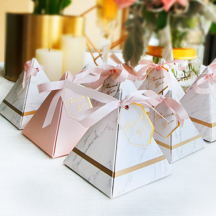 50 PCS On-Trend Marble Pyramid Marble Candy Box Wedding Favors - 2 Sided