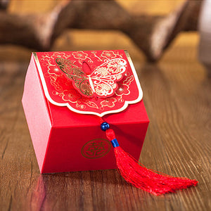 50 PCS Red & Gold Embossed Butterfly Chinese Wedding Candy Boxes