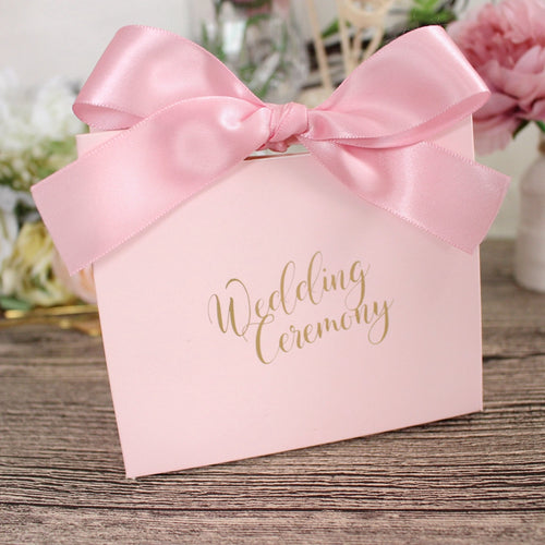 50 PCS Pink Wedding Candy Gift Box With Matching Ribbons