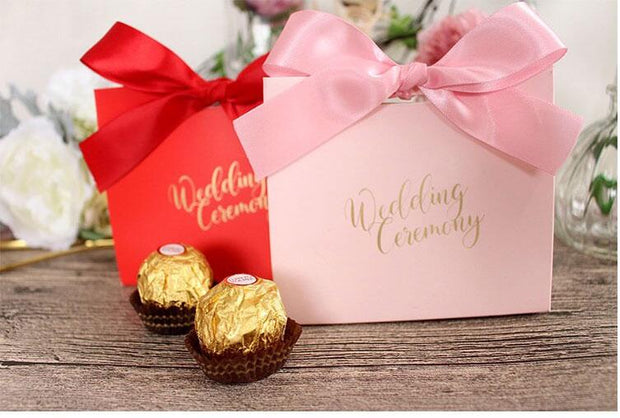 50 PCS Red Wedding Candy Gift Box With Matching Ribbons
