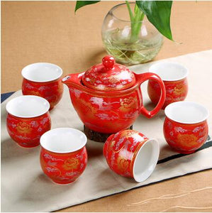 Red & Gold Good Luck Chinese Wedding Tea Cups & Tea Pot for Engagement Ceremony