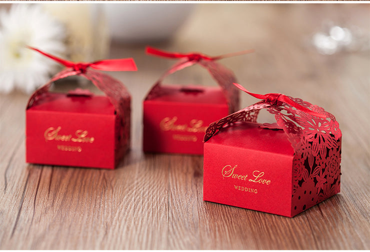 50 PCS Red Laser Cut Floral Chinese Wedding Candy Boxes