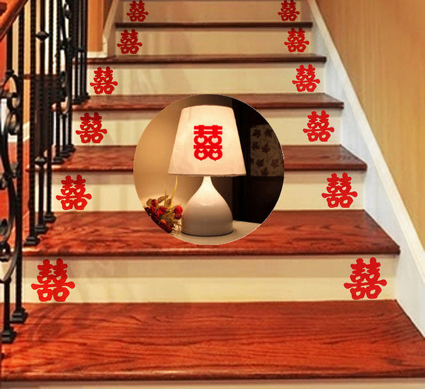 88 PCS Double Happiness Chinese Wall or Staircase Stickers