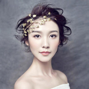 One-Sided Golden Leaf Wedding Tiara