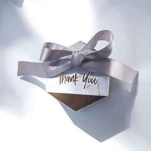 "50 PCS Gold & Marble Hexagon ""Thank You"" Candy Boxes"