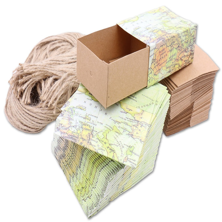 50 PCS World Map Gift & Favor Box for Wedding Candy - Includes Hemp String