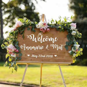 Personalised Wedding Welcome Vinyl Sticker Sign for Bride and Groom Names & Wedding Date
