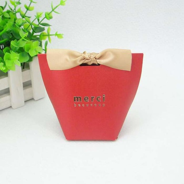 50 PCS French Style Merci Beaucoup Wedding Candy Gift Boxes - Red, Black, White