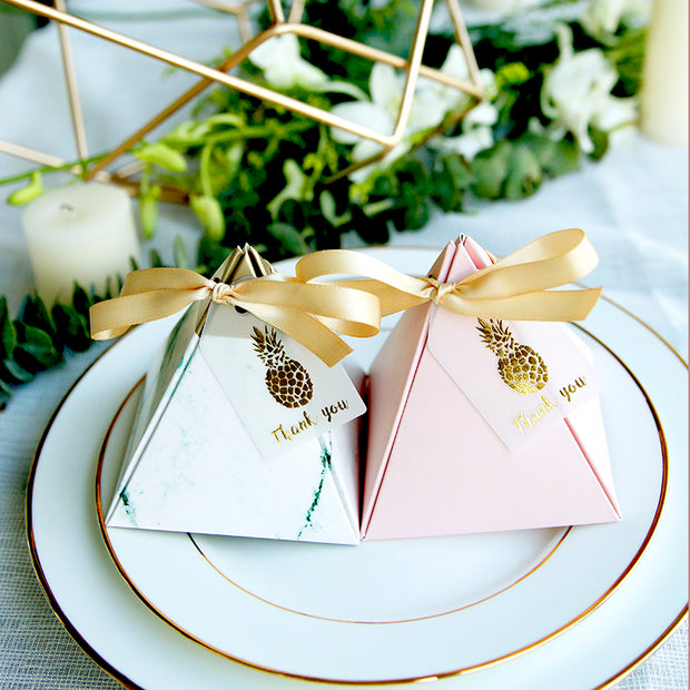 50 PCS Marble Green & Pink, Pineapple Themed Triangular Pyramid Wedding Candy Boxes with Ribbons and Tags