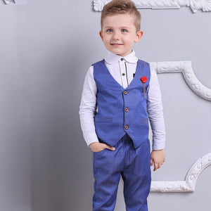 Burgundy Red Boy Suits for Ring Bearers, Flower Boys, or Wedding Guests - 3 Piece Vest + Pants + Shirt (3T - 7)