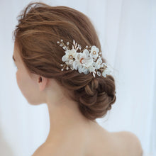 Handmade Wedding Hair Comb with Floral Yarn