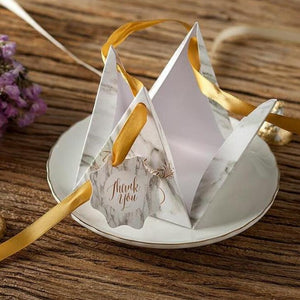"50 PCS Gray Marble Scripted ""Thank You"" Triangular Pyramid Wedding Candy Boxes"