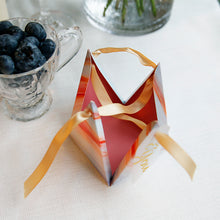 50 PCS Unique Silver & Orange Triangular Pyramid Wedding Candy Box