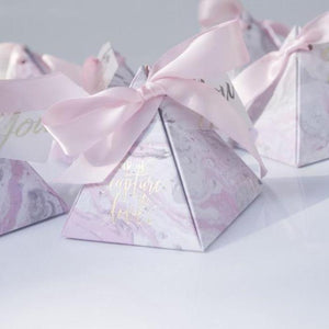 50 PCS Pink Marble Triangular Pyramid Candy Box With Pretty Pink Ribbon