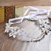 Handmade Wedding Tiara With Silver Leaves & Pearls