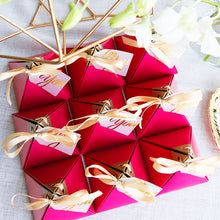 "50 PCS Magenta Pyramid ""Thank You"" Wedding Candy Gift Box"