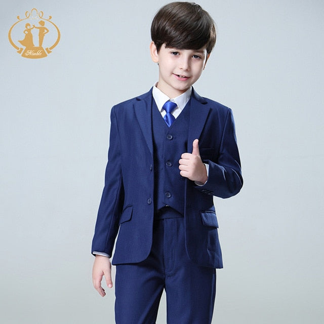 Navy Blue Wedding Suit for Little Boys, Ring Bearers, Flower Boys - Pants, Vest, Coat Set (9M - 16T)