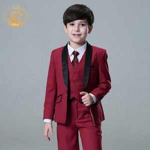 Red Burgundy Wedding Suit for Little Boys, Ring Bearers, Flower Boys - Pants, Vest, Coat Set (18M - 13T)