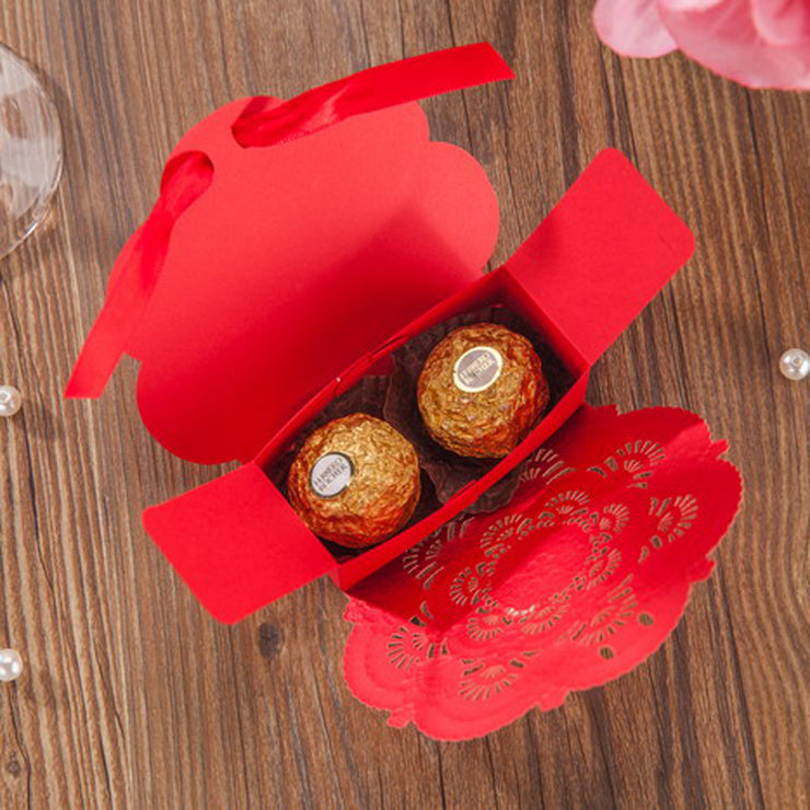 50 PCS Red & Gold Laser Cut Floral Chinese Wedding Candy Boxes