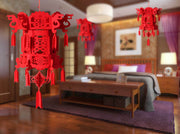 6 PCS Classic Double Happiness Chinese Knot Hanging Lantern with Tassels