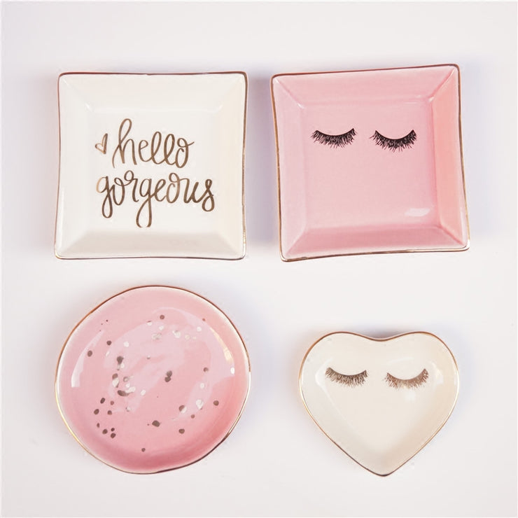 Super Cute Hello Gorgeous, Girly Ceramic Jewelry Dish Saucers Handpainted on Porcelain