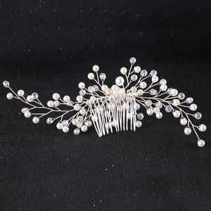 Handmade Silver Leaf Hair Comb with Boho Style Vines & Faux Pearls