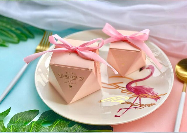 50 PCS Blush Peach Pink Diamond Shaped Wedding Candy Box Gifts & Favors - Silver Ribbon