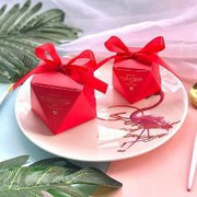 50 PCS Red Wedding Candy Favor Box in Diamond Shape - Gold Ribbon