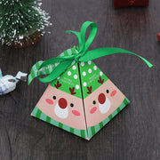50 PCS Christmas Candy Boxes In Pyramid Shape With Reindeer, Santa, or Christmas Tree Prints