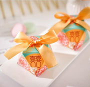 50 PCS Modern Chinese Wedding Candy Boxes With Double Happiness Sign