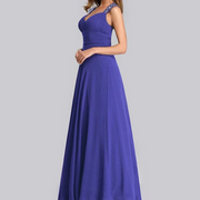 Purple Bridesmaids Dress with Perfect Fit with Queen Anna Neckline and Silver Sequin Design