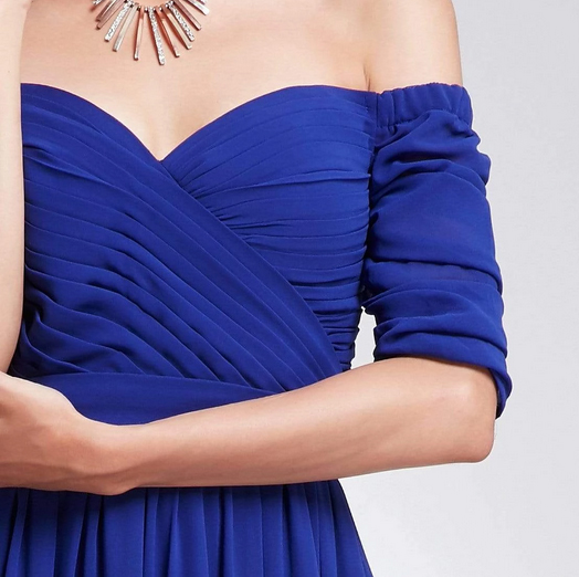 Royal Blue Three- Fourths Sleeve Off Shoulder Bridesmaids Dress with Perfect Fit with Chiffon Skirt