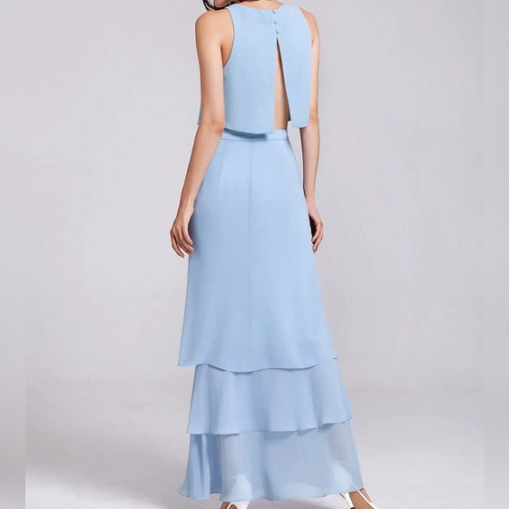 Powder Blue Top and Skirt Bridesmaids Dress with Perfect Fit with Layered Ruffled Bottom Skirt