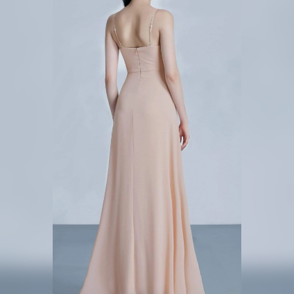 Beige Chiffon Floor Length Bridesmaids Dress with Perfect Fit with Spaghetti Strap