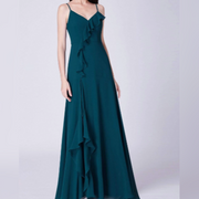 Ruffle Spaghetti Strap Teal Blue Bridesmaids Dress with Perfect Fit with Center Slit
