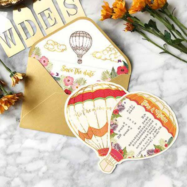 40 PCS Hot Air Balloon Wedding Invitations With Matching Envelope